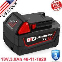 3.0AH For Milwaukee M18 18V Lithium XC Battery 48-11-1828 48-11-1820 48-11-1852