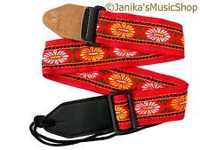 Modello Rosso Cinturino per elettrica o acustica chitarra 115j NUOVO Nylon Web 50mm di larghezza