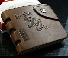 Men's Leather Wallet Brown Cowboy Bifold Card Holder Front Pocket Purse