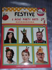 CHRISTMAS PARTY PAPER HATS PKT 6 FUN ELF PARTY DINNER PHOTO BOOTH XMAS SELFIE