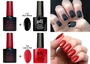 GDI NAILS PRO MATTE BLACK RED TOP BASE COAT - SOAK OFF UV GEL NAIL POLISH