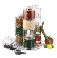 Acrylic Kitchen Spice Tower Jars Seasoning Rack Carousel 12 Storage Bottles