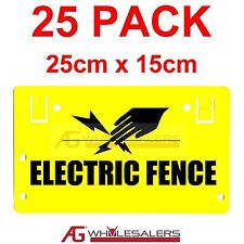 ELECTRIC FENCE WARNING SAFETY SIGN 25 PK- HOOK OR TIE TO WIRE POLY WIRE FENCING