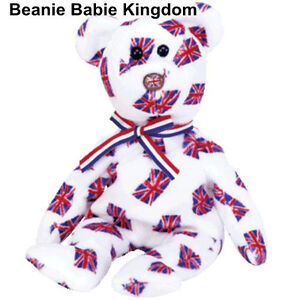 TY BEANIE BABIE BABY * JACK * UNION JACK FLAG ON NOSE AND BODY - UK EXCLUSIVE