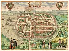 Barth Mecklenburg-Vorpommern Germany bird's-eye view map Braun Hogenberg ca.1598