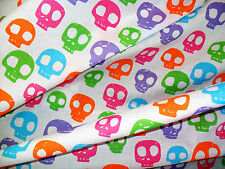 1M MULTI-COLOURED White SKULL Fabric POLY COTTON Crafts Quilting Sewing