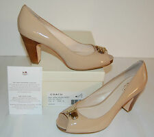 New $188 Coach Helaine Patent Peep/Open Toe Patent Leather Heel 9 M pumps nude