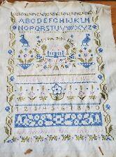 "Vintage Handmade Cross Stitch Embroidered Sampler Completed 10""x13' Unframed"