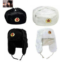 Adult Russian Trapper Hat With Soviet Badge Faux Fur Ushanka Cossack Flaps Hats