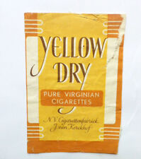 Old Vintage Holland Cigarette - Tobacco Packet Label. Yellow Dry