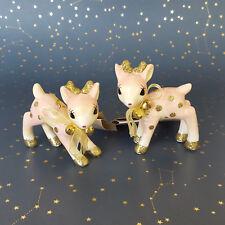 Target Wondershop Pink Deer Retro Fawn Ornament Pair Ceramic Gold Glitter NEW
