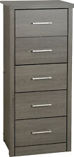 Lisbon 5 Drawer Narrow Chest in Black Wood Grain Effect Veneer