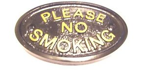 PLEASE NO SMOKING HOUSE DOOR PLAQUE WALL SIGN GARDEN WITH GOLD LETTERING