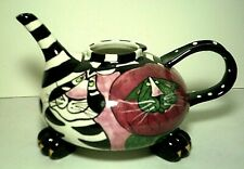 "Blue Sky Cat Teapot with ""Paws"" ~ Excellent Great Colors Missing Lid"