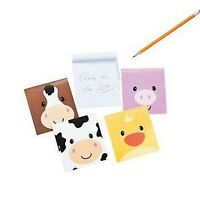 Pack of 12 - Farm Animal Face Notepads - Party Loot Bag Fillers