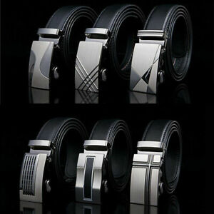 Men's Luxury Automatic Buckle Leather Belt Waist Waistband Strap Buckle Bel Z
