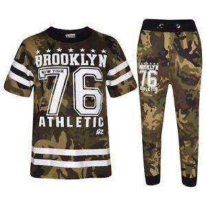 Kids Boys Designer Brooklyn 76 Camouflage Green T Shirt Tops Trouser Tracksuit