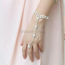 Wedding Bridal Bracelet with Ring Pearl Rhinestone Bangle Cuff Chain