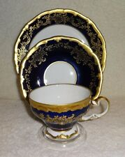Stunning Vintage Weimar Katharina Cobalt Blue Cup and Saucer Trio Set Germany