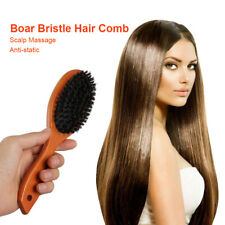 Natural Boar Bristle Hair Comb Oval Anti-static Paddle Massage Scalp Brush