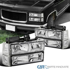 94-99 GMC C10 C/K Sierra Yukon Clear Headlights Bumper Lights Corner Lamps Pair