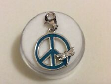 Amore La Vita 925 Silver Enamel Peace Sign With Dragonfly w/Lobster Clasp Charm