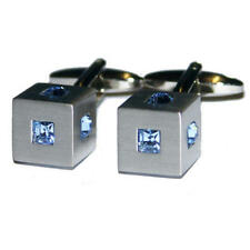 Silver Cube With Blue Crystal Cufflinks With Gift Pouch Glitter Diamonds Present