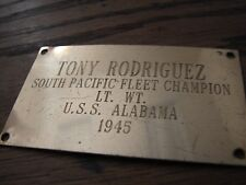 Original WW2 So.Pacific Fleet Boxing Champ-USSAlabama 1945-Engraved Trophy Plate