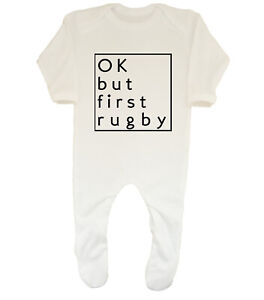Do Not Disturb Busy Watching Rugby With My Daddy Baby Boy Girl Sleepsuit Designed and Printed in the UK Using 100/% Cotton Material