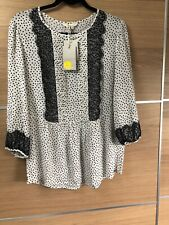 Boden Size 14 White Blouse Black Scattered Polka Dot Lace Shirt Bnwt