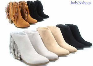 NEW Women's  Cowboy Fringe Pointed Toe Low High Heel Ankle Booties Size 5 - 11