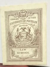 Antique Vintage Bookplate University Of Michigan Design Ex Libris Early 20th
