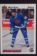 Mario Doyon Nordiques Autographed 1991/92 Upper Deck #411 Hockey Card JSA 16H