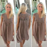 US Women Boho Mini Dress Rompers Party Evening Club Hippie Summer Beach Sundress