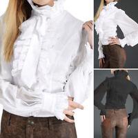 ZANZEA UK Women Long Sleeve Turtleneck Neck Ruffles Top Shirt Button Down Blouse