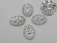 100 Clear Glitter Flatback Resin Oval Cabochon Pyramid Dotted Rhinestone 13X18mm