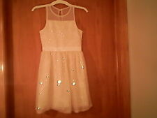 Justice brand girls yellow sleeveless dress, gold sequins, 8, polyester, lined