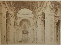 Interno Di San Pierre Per Roma Italia Vintage Albumina, Ca 1880