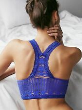 New Free People Womens Soft Lace Bralette Seamless Racerback Crochet Bra $28