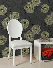 Charcoal, Green & Black, Floral design, Suede Effect, Blown Vinyl Wallpaper