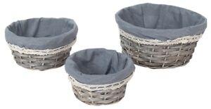 Set Of 3 Rattan Woven Wicker Lined Baskets 25cm Small Hamper Set