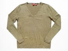 ESPRIT Green V-Neck Long Sleeve Cotton Knit Top/Shirt Size Small