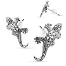 Pair of .925 Sterling Silver Multi Paved Gems Lizard Stud Earrings Post