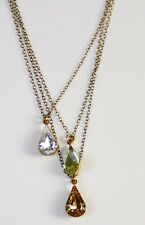 Lionette Design Dangle Crystal Lumiere Triple Strand Teardrop Necklace Gold Fill