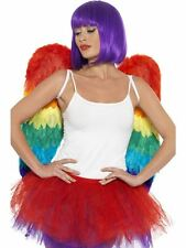ADULTS RAINBOW COLOUR FEATHER WINGS MULTI COLOURED MENS WOMENS PRIDE FANCY DRESS