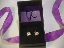 INCREDIBLE SOLID SILVER EARINGS 14CT GOLD PLATED DIAMOND KNOT STUDS 1/4 CARAT !!