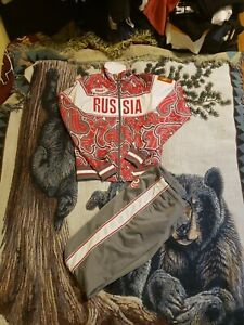 Russian Olympic Team Unisex Tracksuit Uniform Zipper Jacket Pants XS Bosco