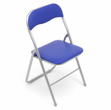 6x Klappstuhl Klappstühle Kunstleder - silber-blau - Küchenstuhl Gartenstuhl