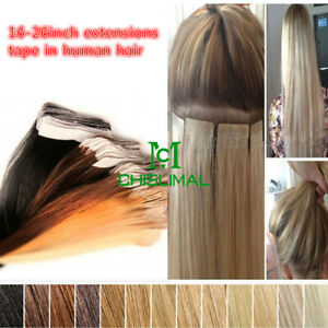 Seamless Tape In PU Skin Weft Real Remy Human Hair Extensions 16-26inch Fashion