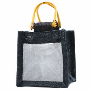 5 x One Window Jar Jute Gift Bag - Black Gift Bags With Handles 12 x12 x13cm